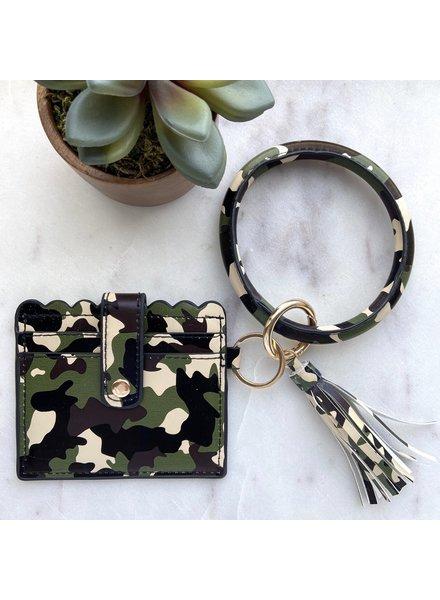Pretty Simple Camo Cardholder With Keyring & Tassel