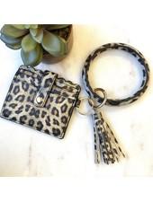 Pretty Simple Leopard Cardholder With Keyring & Tassel