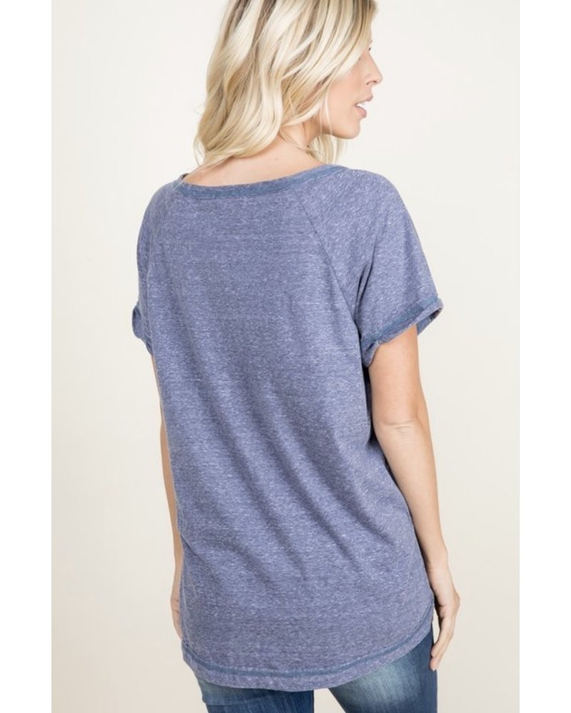 A.gain Denim Solid V-Neck Tee W/Side Slit