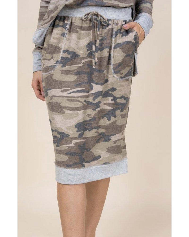 A.gain Camo Sport Knee Length Skirt