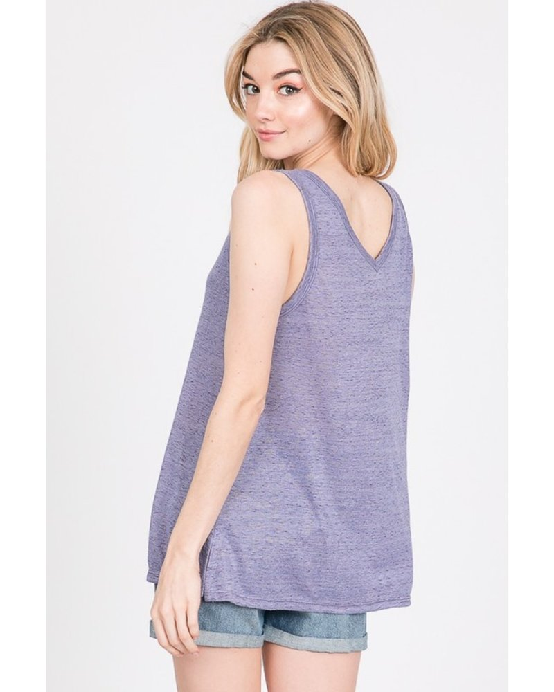 Faith Apparel Periwinkle V-Neck Tank W/Side Slit