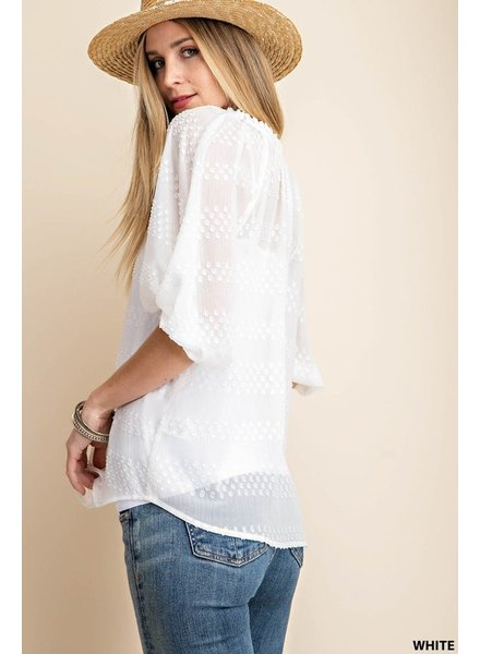 Faith Apparel White Textured Chiffon Blouse