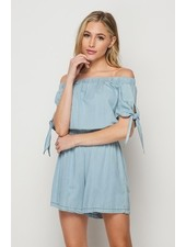 Faith Apparel Light Wash Denim Romper