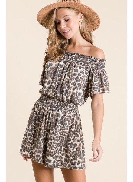 Faith Apparel Leopard Print Off Shoulder Short Romper