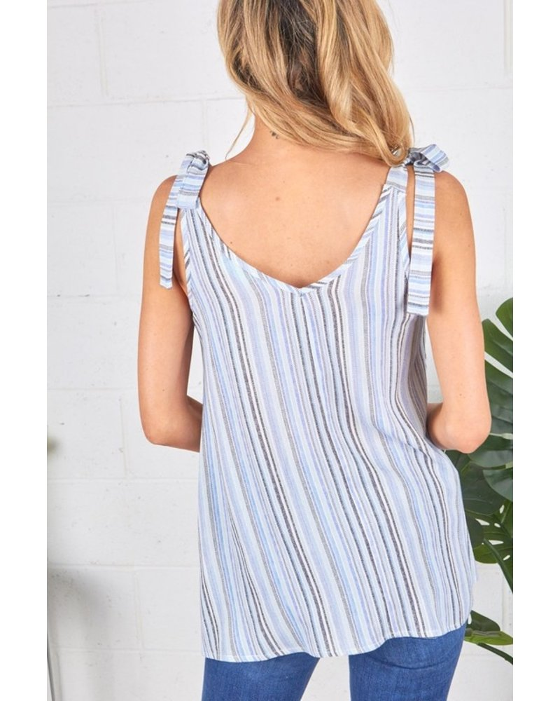 Faith Apparel Ivory & Blue Multi Stripe Tank