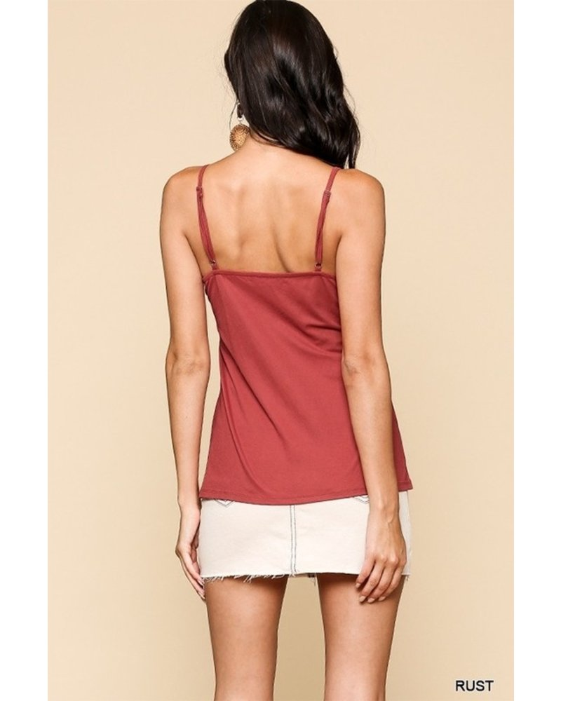 Faith Apparel Rust Front Twist Solid Cami