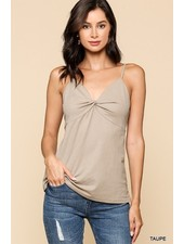 Faith Apparel Taupe Front Twist Solid Cami