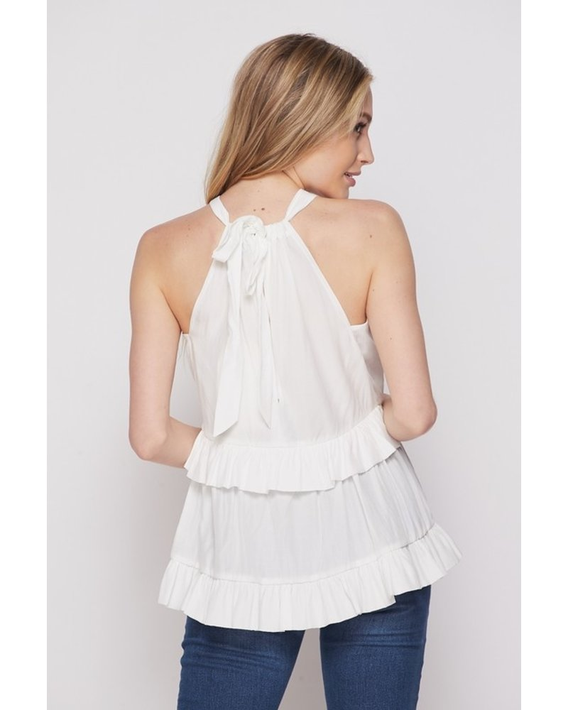 Faith Apparel Ivory Tiered Halter