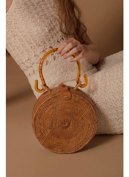 Folk Fourtune Natural Rattan Bag with Tortoise Handle