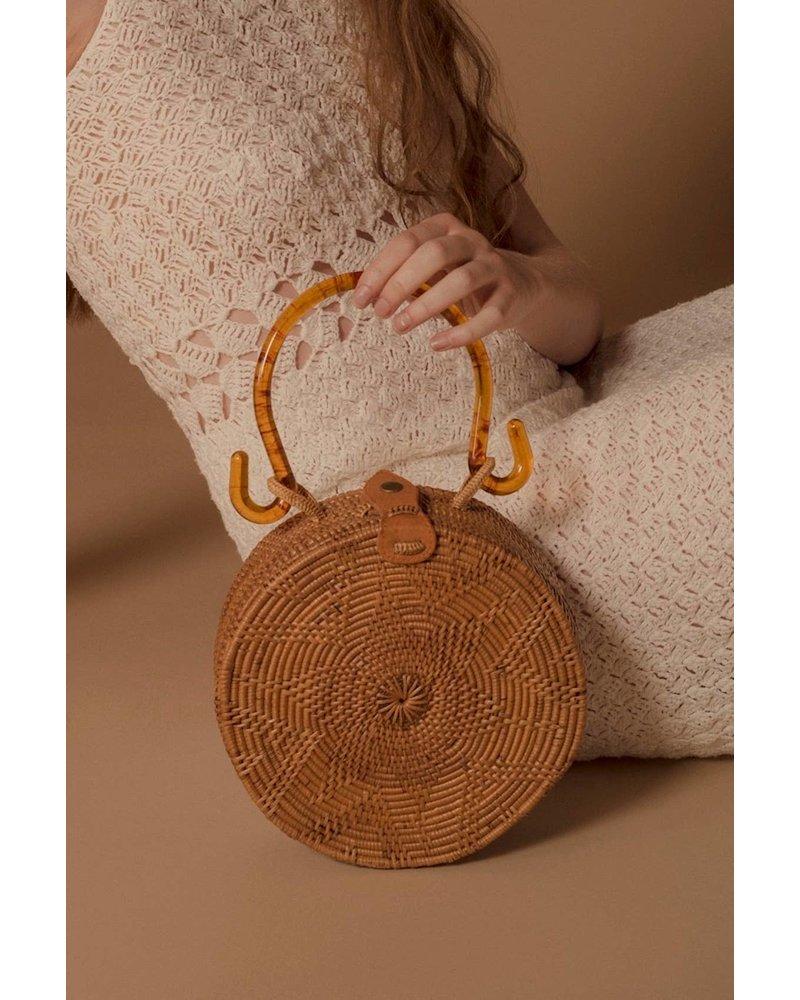 Folk Fourtune Natural Rattan Bag with Tortoise Handle