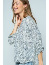 Twenty Second Ivory & Navy High-Low Tab Sleeved Top
