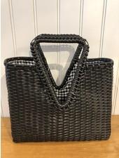 Street Level Handbags Black Handwoven V-Shaped Handle Bag