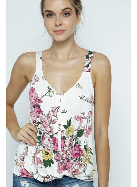 Twenty Second White Floral Sleeveless Twist Top