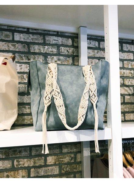 Street Level Handbags Sage Tote W/Crochet Detailing