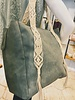 Street Level Handbags Sage Tote W/Crochet Detailing