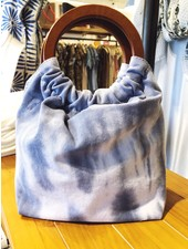 Street Level Handbags Blue Tie Dye Wooden Ring Handle