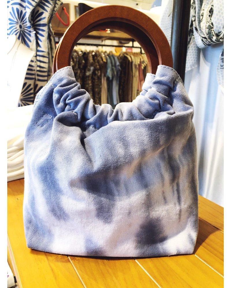 Street Level Handbags Blue Tie Dye Wooden Ring Handle