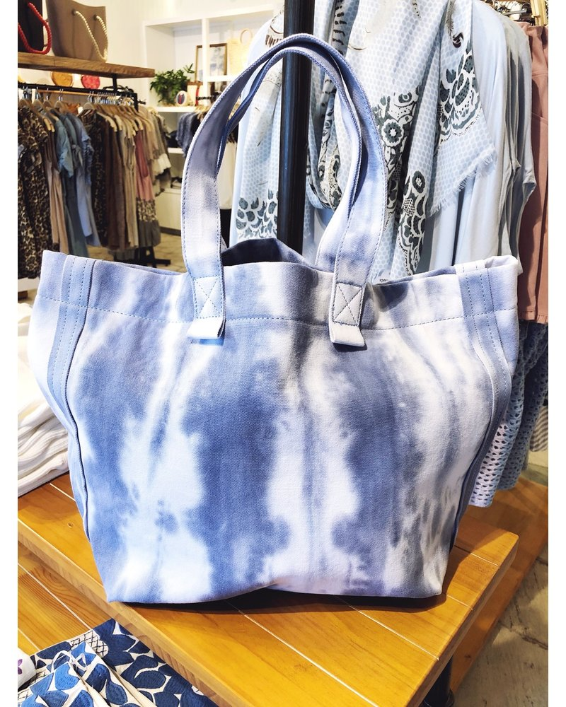 Street Level Handbags Tie Dye Blue Slouchy Tote