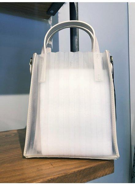 Street Level Handbags Ivory Mini Pleated Vinyl Bag