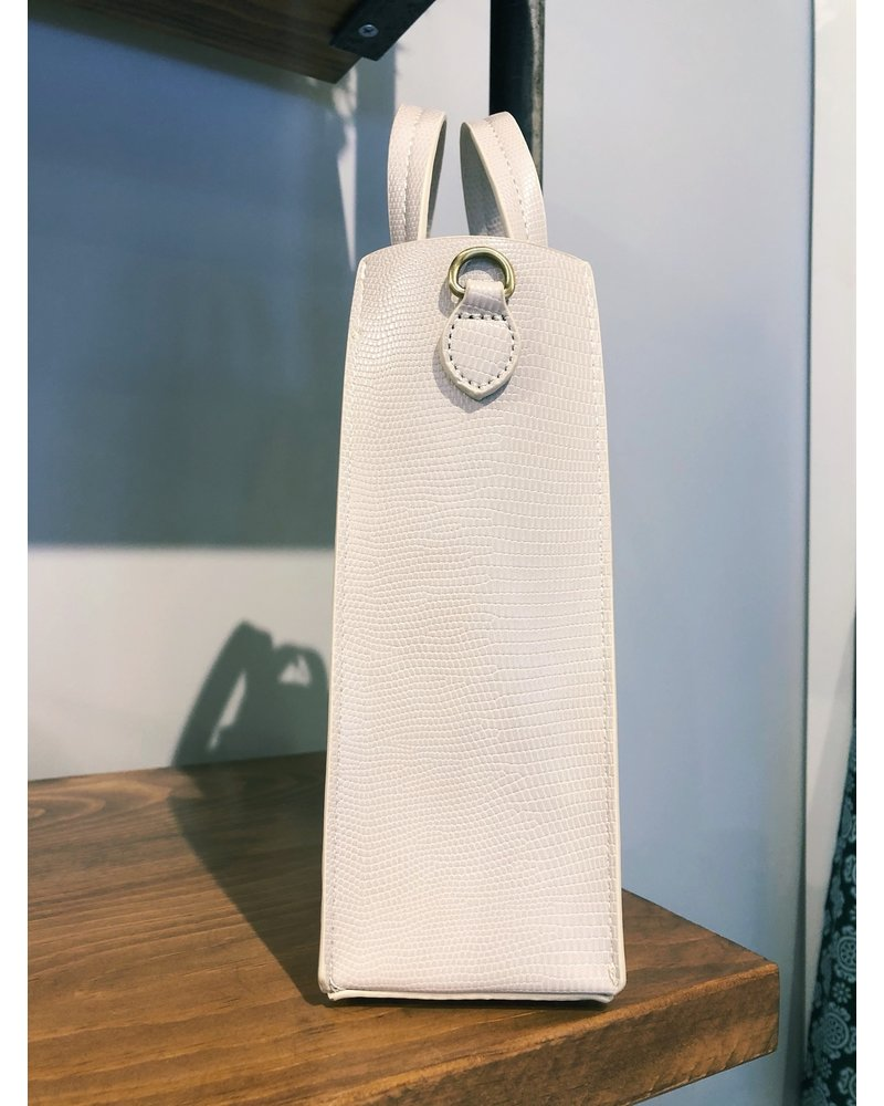 Street Level Handbags Ivory Mini Pleated Vinyl Bag