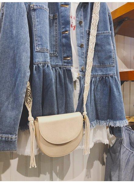 Street Level Handbags Ivory Saddle Bag W/Macrame Strap