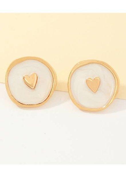 Koko & Lola White Enamel Love Heart Earrings