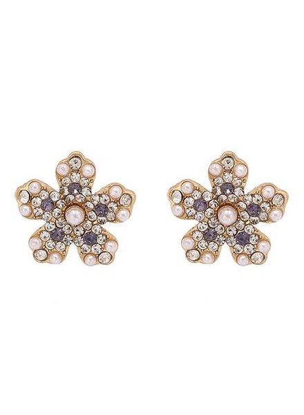 Koko & Lola Pearl & Swarovski Maggie Flower Stud Earrings