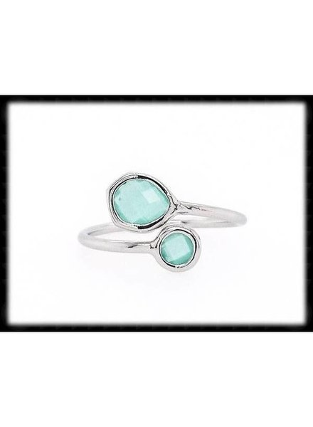 The Beaded Wire Mint Silver Framed Glass Ring