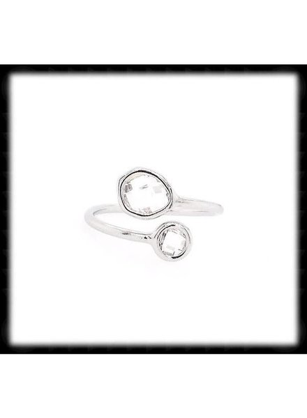 The Beaded Wire Clear Silver Framed Glass Ring