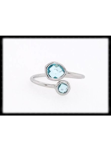 The Beaded Wire Aqua Silver Framed Glass Ring