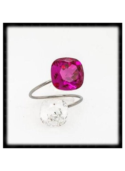 The Beaded Wire Fushia & Clear Two Tone Ring