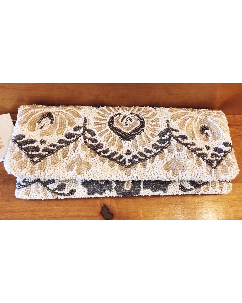 Tiana Designs Hand Beaded Fold Over Clutch
