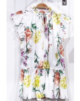 Current Air White Floral Pleated Top