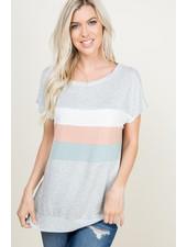 A.gain Heather Grey Color Block Top