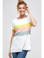 A.gain Ivory Color Block Top