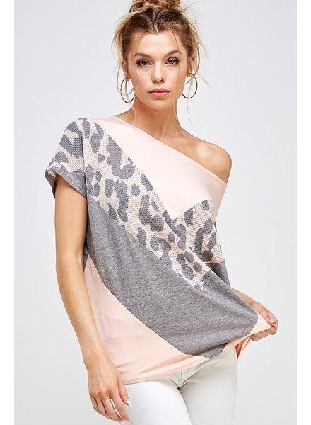 A.gain Blush Animal Print - Off The Shoulder Top