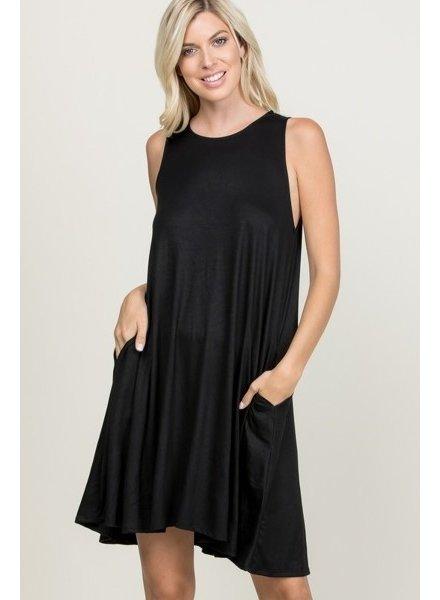 A.gain Black Solid Shay Dress