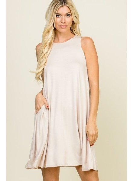 A.gain Beige Solid Shay Dress