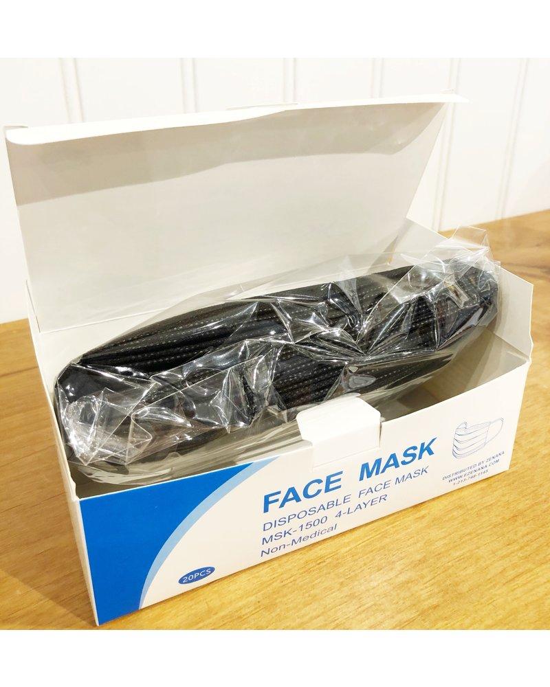 AAAAA Fashion Box of 20 Black Disposable Face Masks