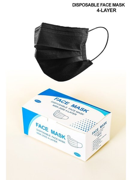 AAAAA Fashion Box of 20 Black Disposable Face Masks