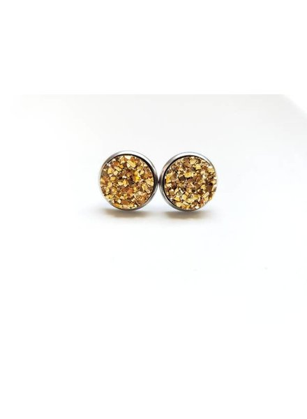 Spiffy & Splendid Gold Druzy Studs