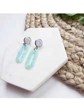 Spiffy & Splendid Aqua Mint & Druzy Oval Dangles