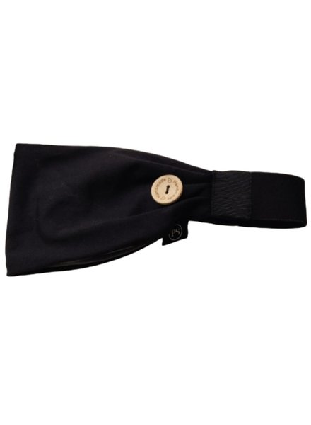 Pretty Simple Black Headband w/Buttons To Attach Your Mask