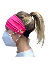Pretty Simple Pink Headband w/Buttons To Attach Your Mask