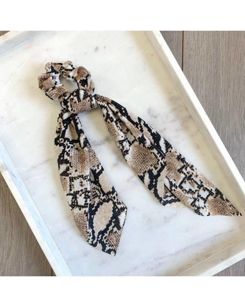 Pretty Simple Tan Snake Print Scrunchie Scarf