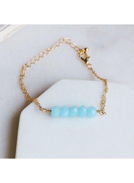 Pretty Simple Aqua 5 Stone Chain Bracelet