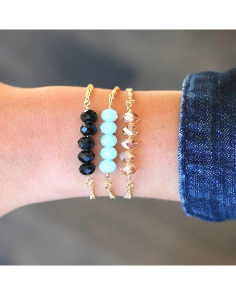 Pretty Simple Aqua 5 Stone Chain Bracelet