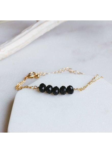 Pretty Simple Black 5 Stone Chain Bracelet
