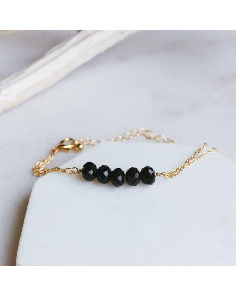 Pretty Simple Black 5 Stone Chain Bracelet