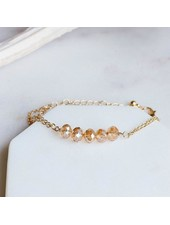 Pretty Simple Champagne 5 Stone Chain Bracelet
